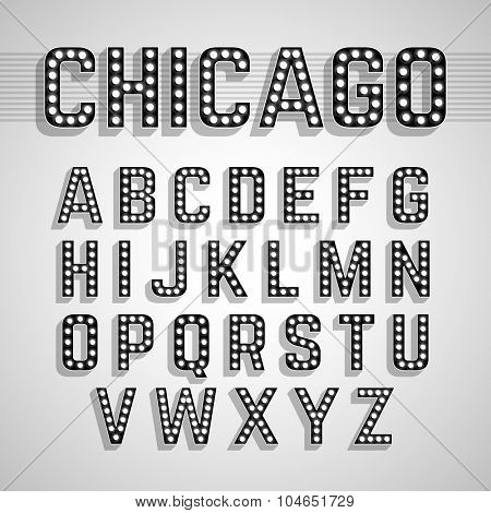 Broadway lights style light bulb alphabet. Vector