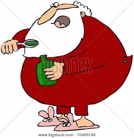 Santa Taking Cough Syrup