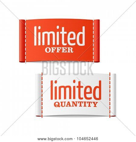 Limited offer and quantity clothing labels. Vector.