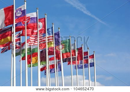 World Flags Blowing In The Wind