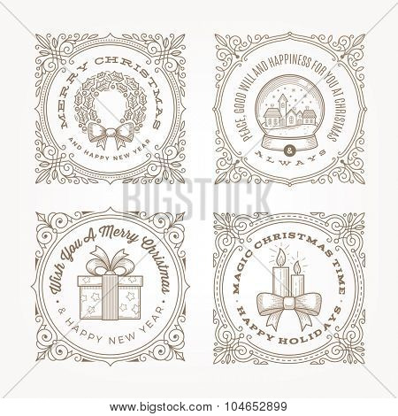 Decorative flourishes line art frame with christmas greetings and symbols - vector illustration