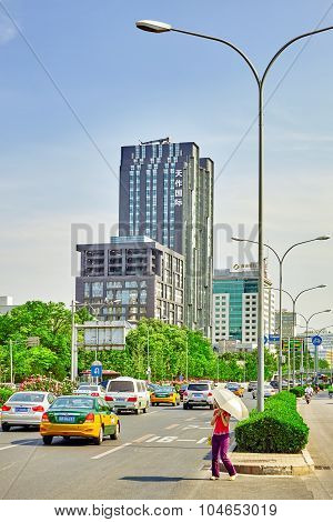 Beijing, China - May 20, 2015: The People, The Citizens Of Beijing, Modern Office And Residential Bu