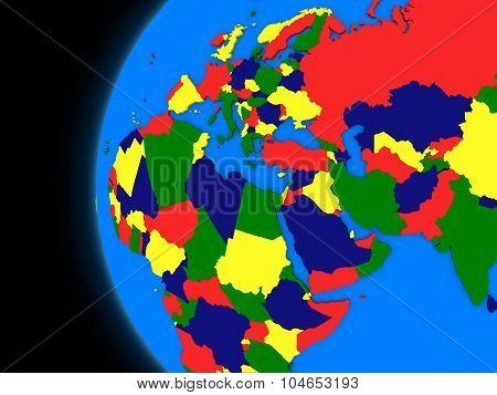 Emea Region On Political Earth