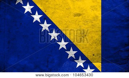 Bosnia and Herzegovina flag painted on plywood texture.