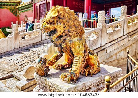 Beiging, China- May 18, 2015 :statue Of Lions  Inside The Territory Of The Forbidden City Museum In