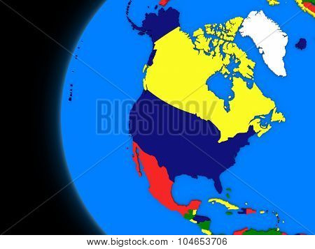 North American Continent On Political Earth