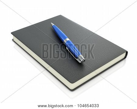 Black Notebook With Blue Pen On A White Background