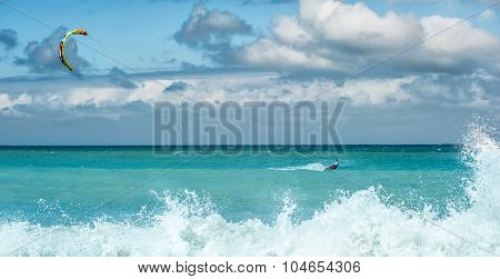 Kite surfing -  summer water sport outdoor activity