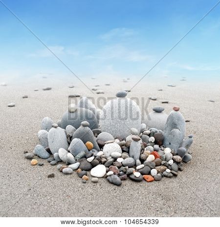 Peaceful and calm background of Buddhist stone garden. Abstract zen harmony beautiful photography
