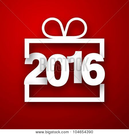 2016 New Year sign on red background. Vector paper illustration.