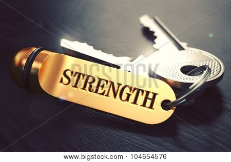 Strength written on Golden Keyring.