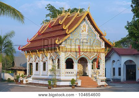 Exterior of the Wat Sri Khun Mueang in Chiang Khan, Thailand.