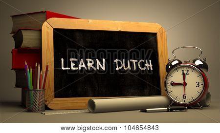 Learn Dutch Concept Hand Drawn on Chalkboard.