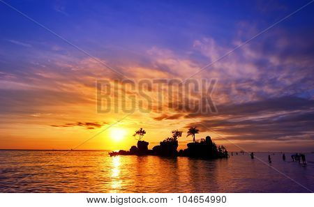Bali island in Indonesia at sunset with beautiful sky, popular travel destination in Asia