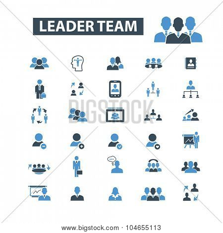 leader team, human resources icons