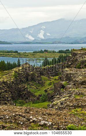 Landscape around Thingvallavatn lake at Thingvellir national park