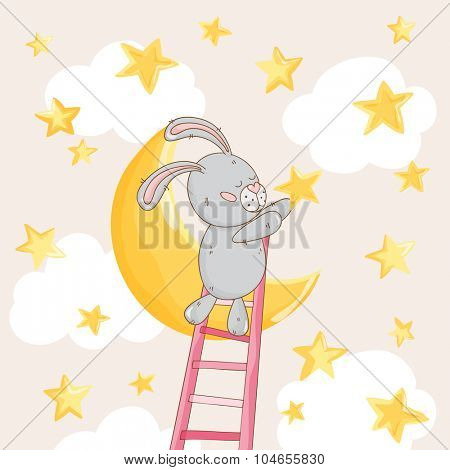 Baby Shower or Arrival Card - with Baby Bunny with Stars - in vector