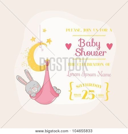 Baby Girl Shower or Arrival Card - with Baby Bunny - in vector
