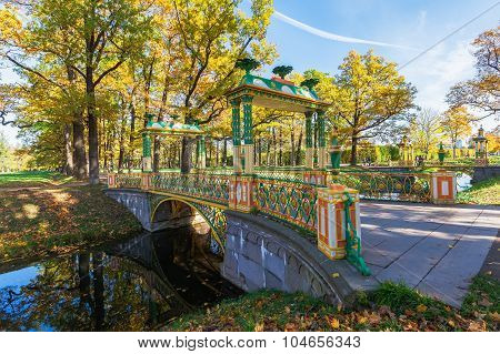 Small Chinese bridge in the Alexander Park of Tsarskoye Selo (Pushkin), near Saint Petersburg