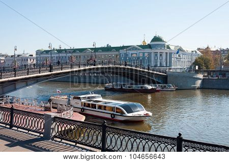 MOSCOW, RUSSIA - 21.09.2015. Luzhkov Pedestrian Bridge,  place of mass walks