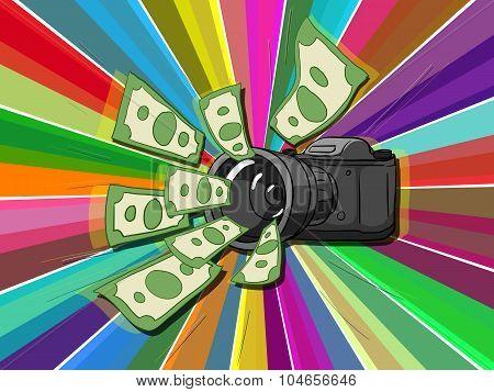 Photo camera and money vector illustration