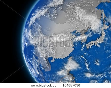 East Asia Region On Political Globe