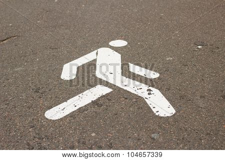Sign Of Pedestrian Zone On Sidewalk