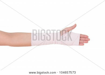 Close-up Injured Arm Wrapped In An Elastic Bandage