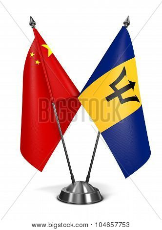 China and Barbados - Miniature Flags.