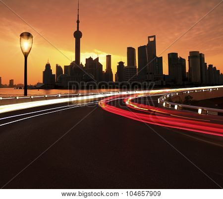 Empty Road Surface With Shanghai Lujiazui City Buildings Dawn