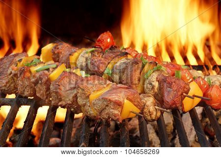 Spit Roast Beef Kebabs On The Hot Flaming Bbq Grill