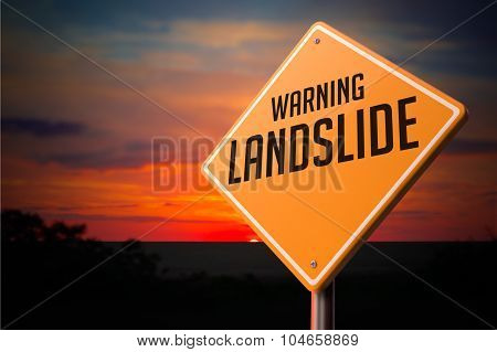 Landslide on Warning Road Sign.