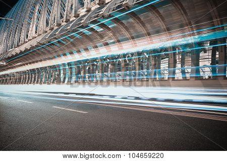 City Road Ironbridge Of Night Scene
