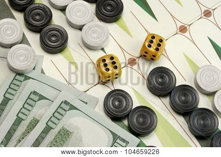 Backgammon Cardboard Playing Area, Wood Chips, Money And Two Dices