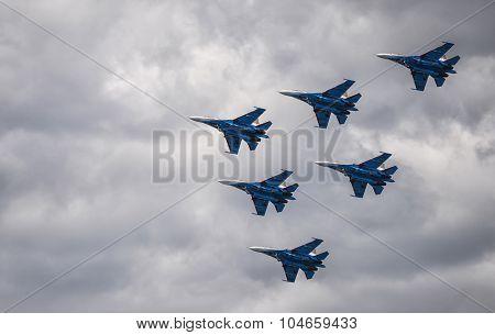 Samara, Russia - August 22. 2015. Aerobatic demonstration team