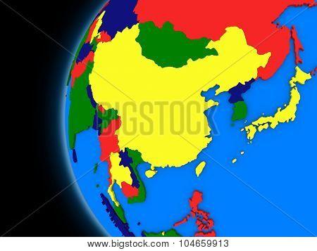 East Asia Region On Political Earth