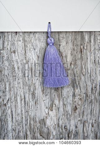 Wooden Background With Paper And Tassel Fringe