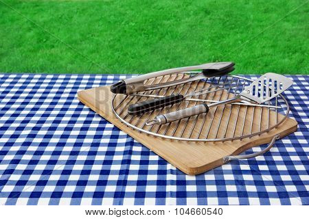 Empty Picnic Table, Checkered Tablecloth,  Grid, Bbq Grill Tools Kit,