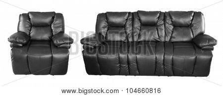 Black chair and sofa on plain background