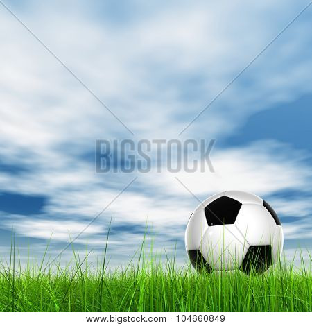 Concept or conceptual 3D soccer ball in fresh green summer or spring field grass with a blue sky background