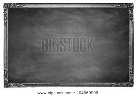 Chalk rubbed out on blackboard in frame