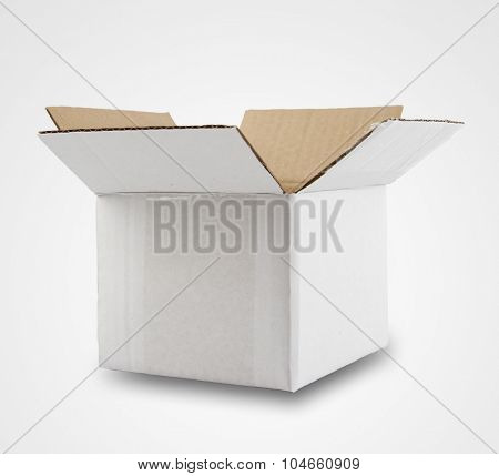 Open cardboard box on plain background