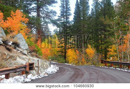 Rural drive in eastern California in autumn time