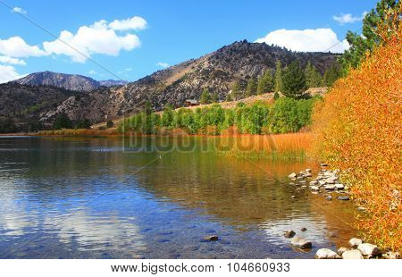 Scenic Gull lake landscape in autumn time