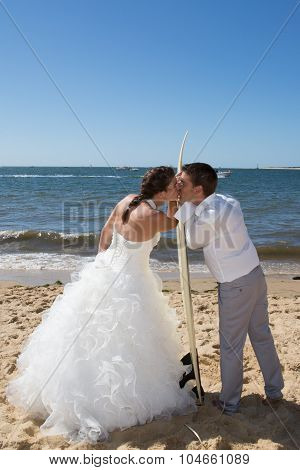Beautiful And Lovely Wedding Couple At The Beach
