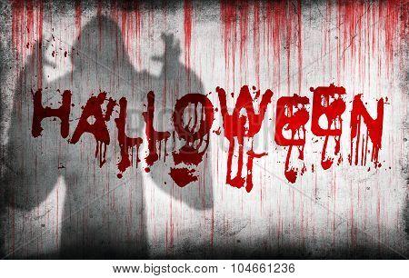 Halloween Sprayed On Wall Next Ghostly Shadow