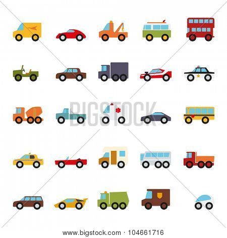 Automobiles Flat Design Vector Icons Collection. Set of 25 cars, vans and other motor vehicles flat design icons on white background