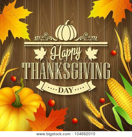Hand drawn thanksgiving greeting card with leaves, pumpkin and spica on wood background. Vector illu