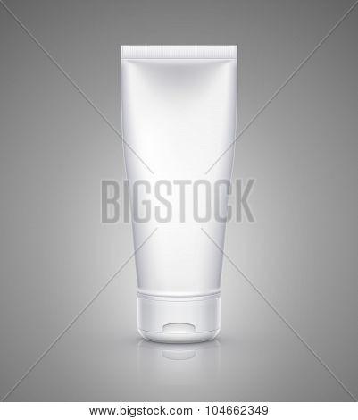 White tube mock-up for cream, tooth paste, gel, sauce, paint, glue. Vector illustration
