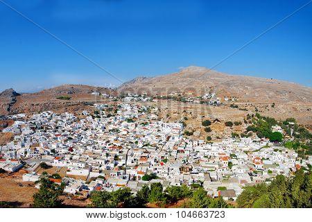 Lindos City. Rhodes. Greek Island. Sunny Day.